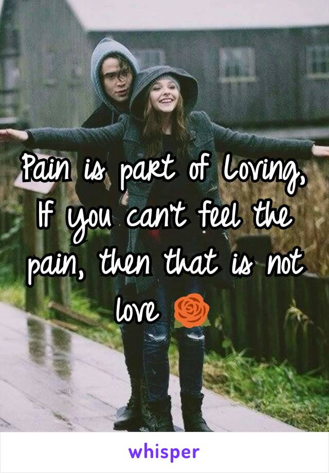 Pain is part of Loving, If you can't feel the pain, then that is not love 🌹
