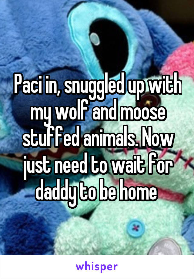 Paci in, snuggled up with my wolf and moose stuffed animals. Now just need to wait for daddy to be home