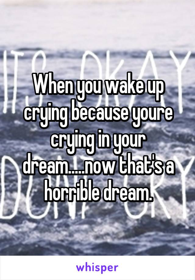 When you wake up crying because youre crying in your dream.....now that's a horrible dream.
