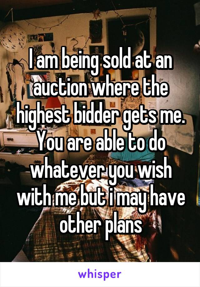 I am being sold at an auction where the highest bidder gets me. You are able to do whatever you wish with me but i may have other plans
