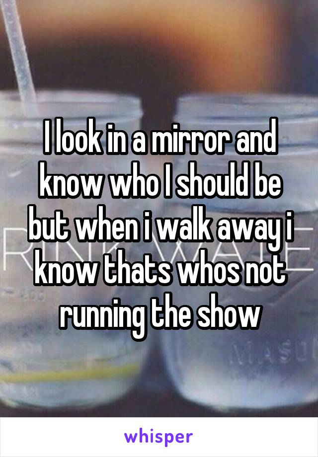 I look in a mirror and know who I should be but when i walk away i know thats whos not running the show