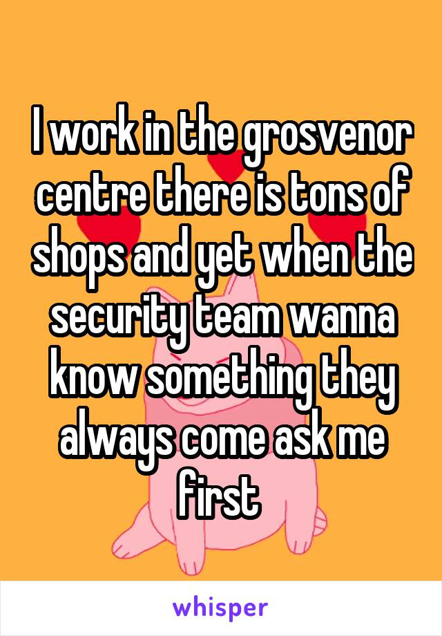 I work in the grosvenor centre there is tons of shops and yet when the security team wanna know something they always come ask me first
