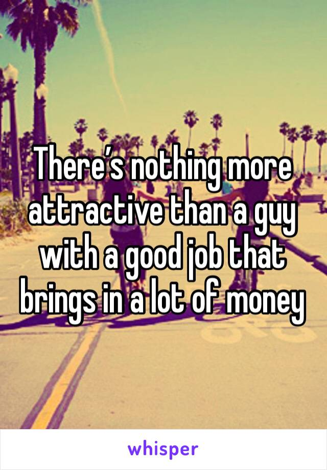 There's nothing more attractive than a guy with a good job that brings in a lot of money