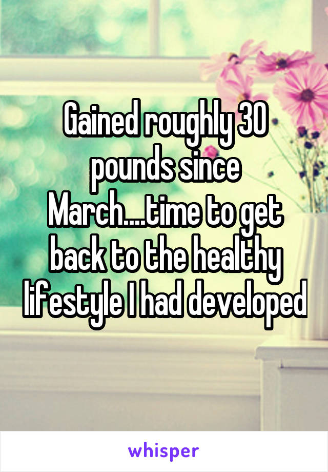 Gained roughly 30 pounds since March....time to get back to the healthy lifestyle I had developed