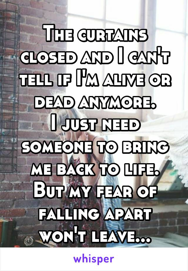 The curtains closed and I can't tell if I'm alive or dead anymore. I just need someone to bring me back to life. But my fear of falling apart won't leave...