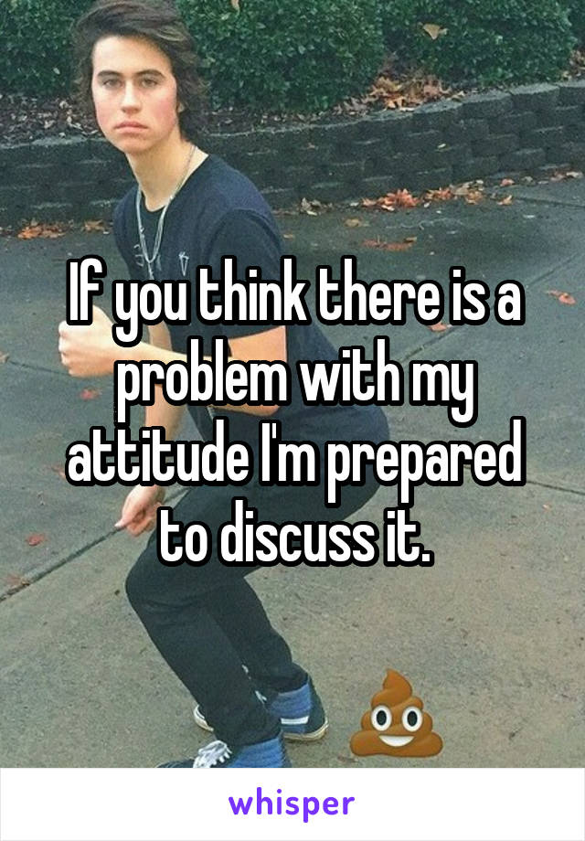If you think there is a problem with my attitude I'm prepared to discuss it.