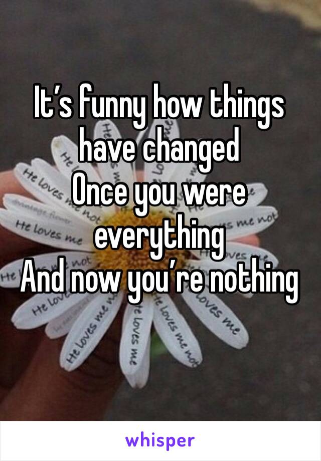 It's funny how things have changed  Once you were everything  And now you're nothing
