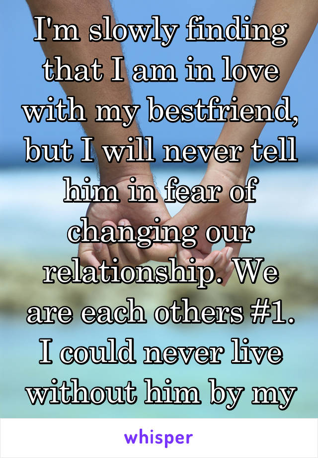 I'm slowly finding that I am in love with my bestfriend, but I will never tell him in fear of changing our relationship. We are each others #1. I could never live without him by my side.