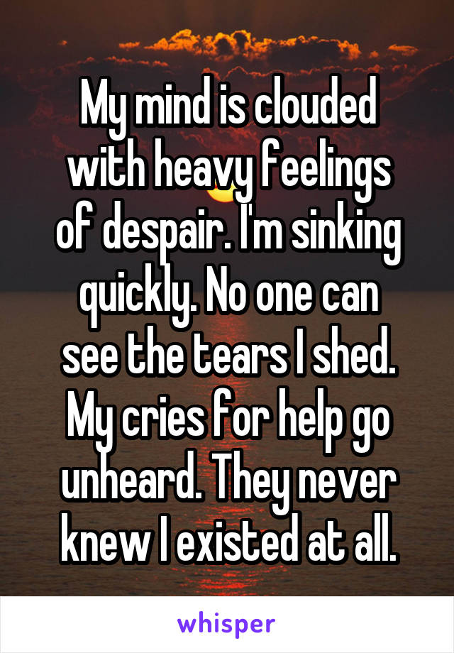 My mind is clouded with heavy feelings of despair. I'm sinking quickly. No one can see the tears I shed. My cries for help go unheard. They never knew I existed at all.