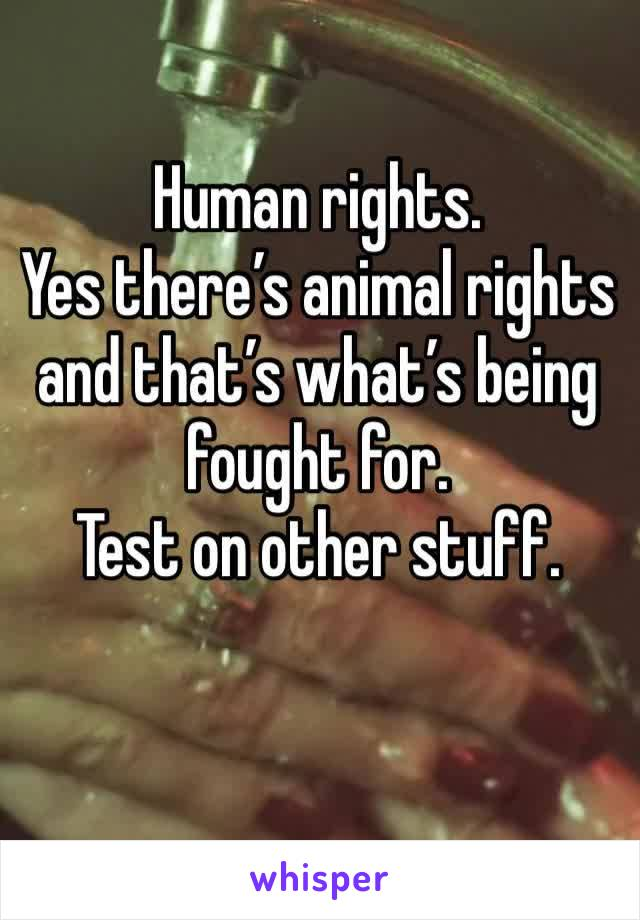 Human rights.  Yes there's animal rights and that's what's being fought for.  Test on other stuff.