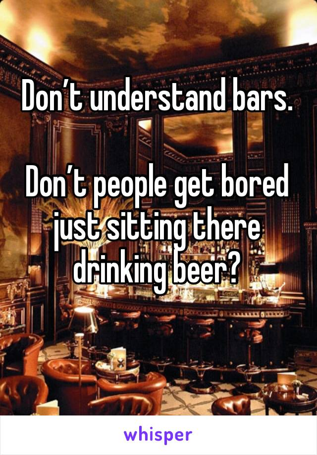 Don't understand bars.   Don't people get bored just sitting there drinking beer?