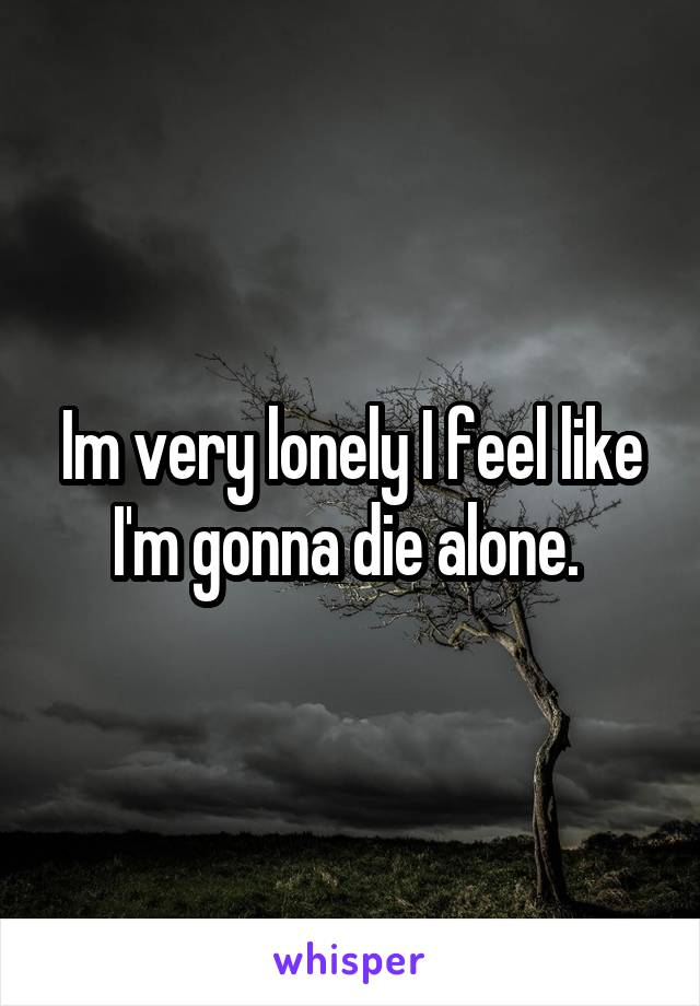 Im very lonely I feel like I'm gonna die alone.