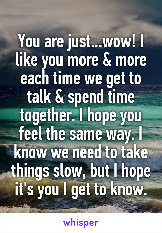 You are just...wow! I like you more & more each time we get to talk & spend time together. I hope you feel the same way. I know we need to take things slow, but I hope it's you I get to know.