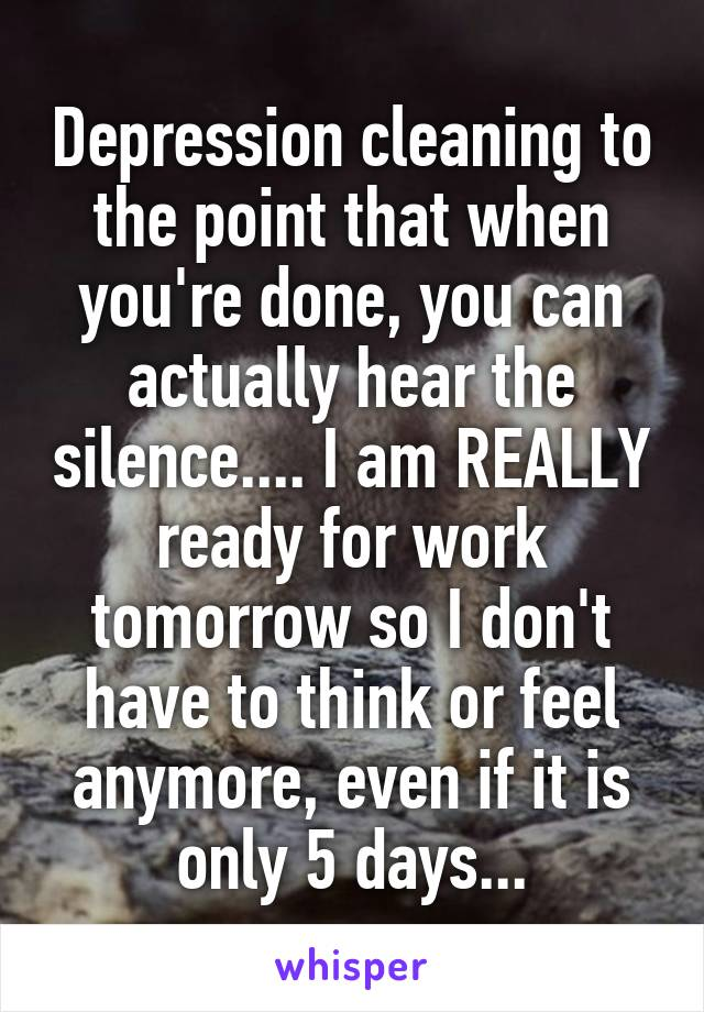 Depression cleaning to the point that when you're done, you can actually hear the silence.... I am REALLY ready for work tomorrow so I don't have to think or feel anymore, even if it is only 5 days...