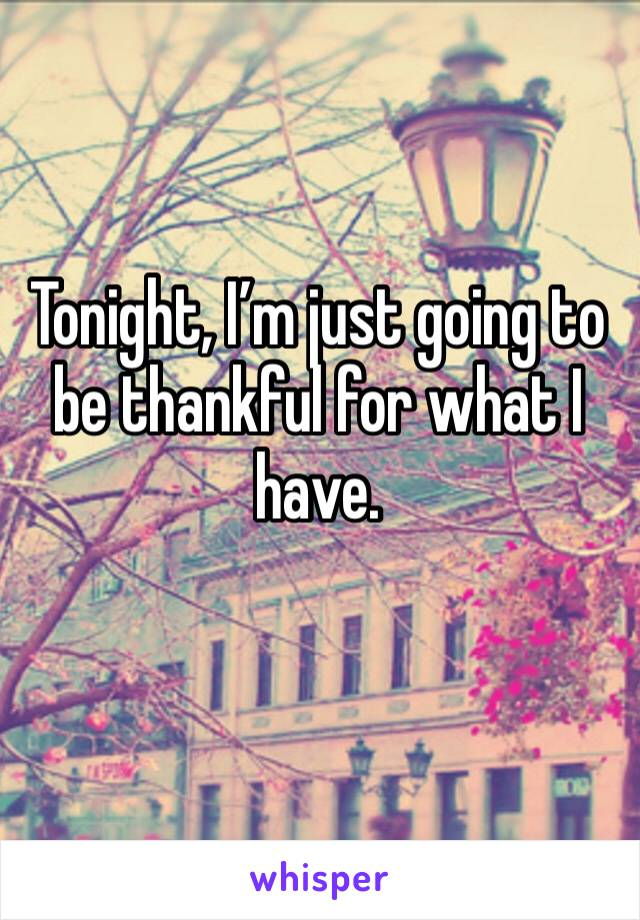 Tonight, I'm just going to be thankful for what I have.
