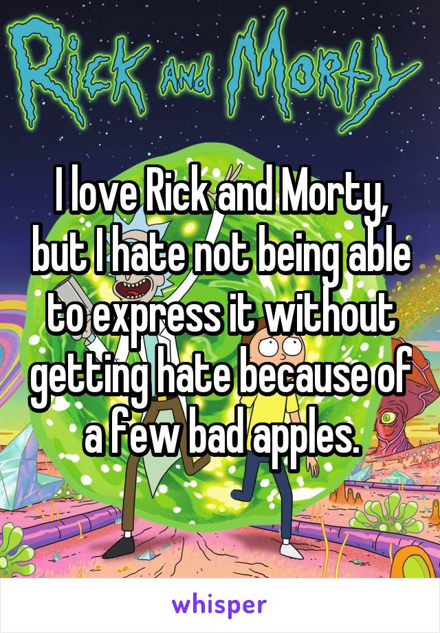 I love Rick and Morty, but I hate not being able to express it without getting hate because of a few bad apples.