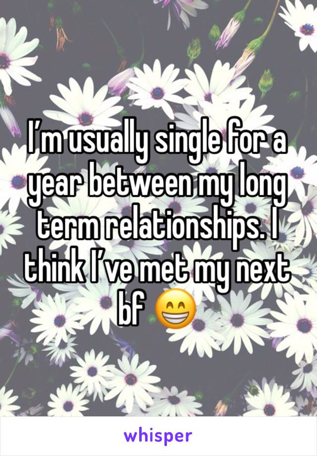 I'm usually single for a year between my long term relationships. I think I've met my next bf 😁