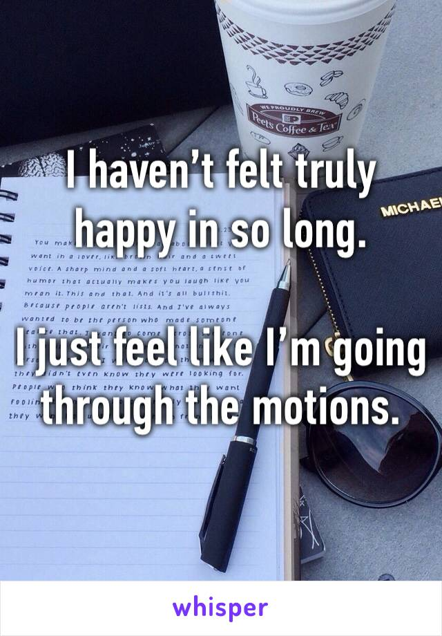 I haven't felt truly happy in so long.  I just feel like I'm going through the motions.