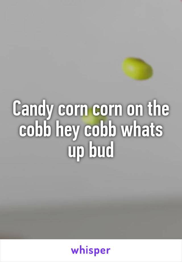Candy corn corn on the cobb hey cobb whats up bud