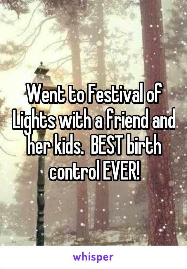 Went to Festival of Lights with a friend and her kids.  BEST birth control EVER!