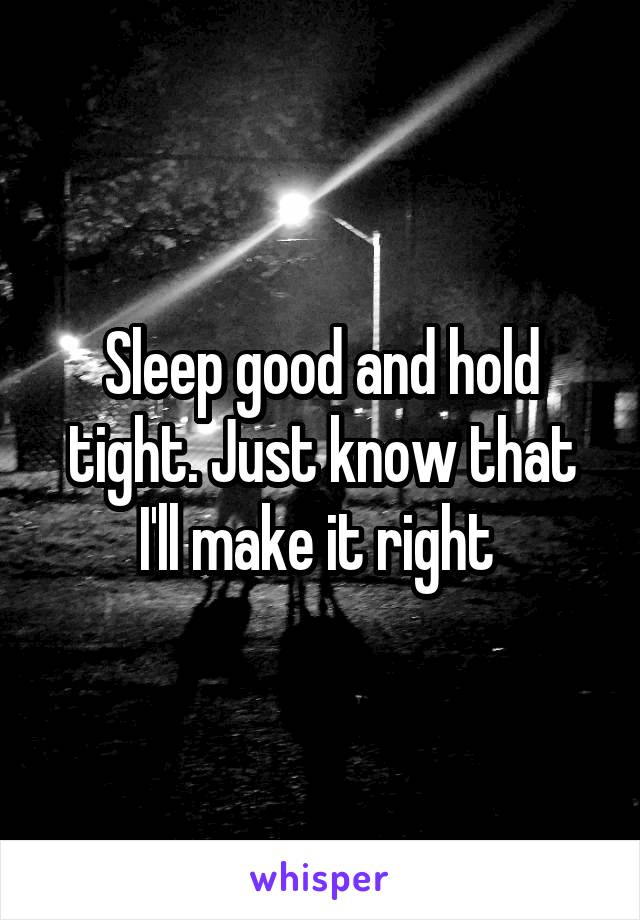 Sleep good and hold tight. Just know that I'll make it right
