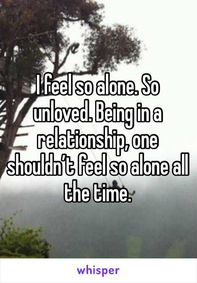I feel so alone. So unloved. Being in a relationship, one shouldn't feel so alone all the time.