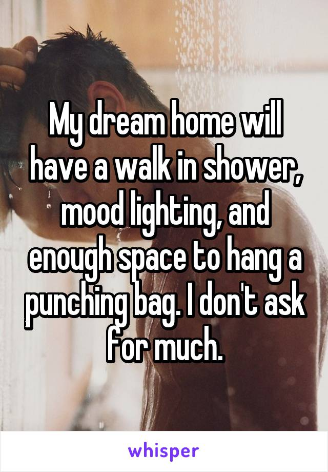 My dream home will have a walk in shower, mood lighting, and enough space to hang a punching bag. I don't ask for much.
