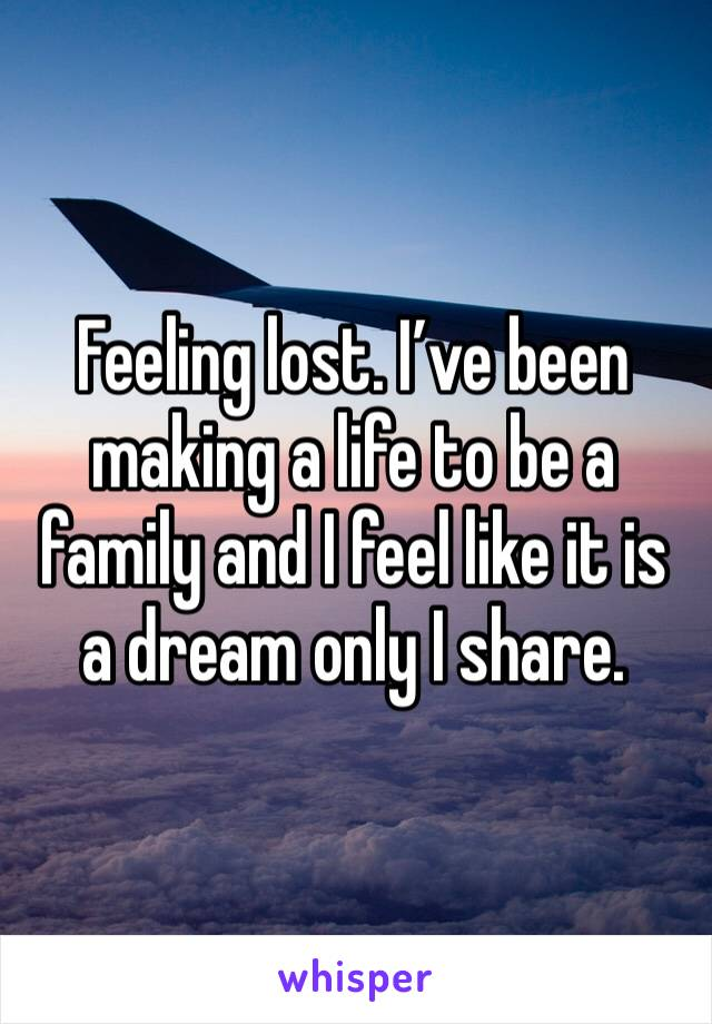 Feeling lost. I've been making a life to be a family and I feel like it is a dream only I share.