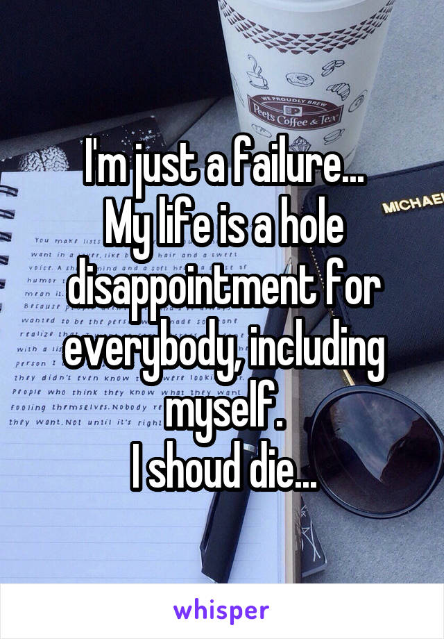 I'm just a failure... My life is a hole disappointment for everybody, including myself. I shoud die...
