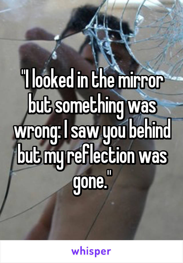 """I looked in the mirror but something was wrong: I saw you behind but my reflection was gone."""