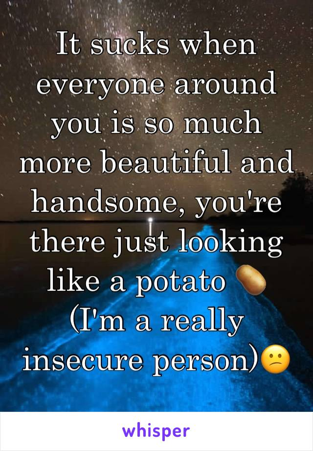 It sucks when everyone around you is so much more beautiful and handsome, you're there just looking like a potato 🥔  (I'm a really insecure person)😕