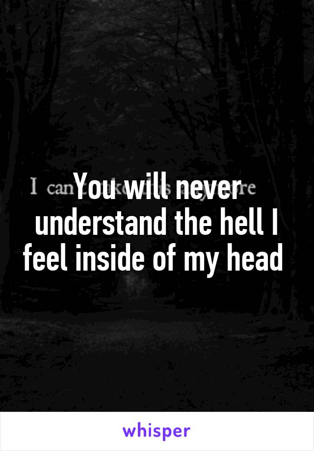 You will never understand the hell I feel inside of my head