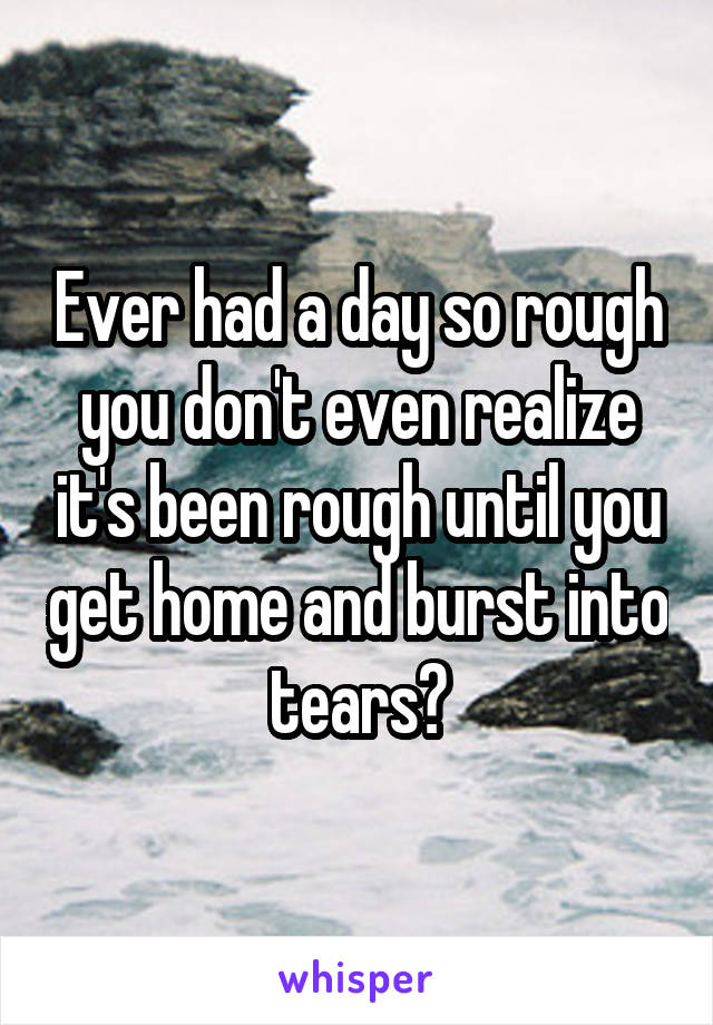 Ever had a day so rough you don't even realize it's been rough until you get home and burst into tears?