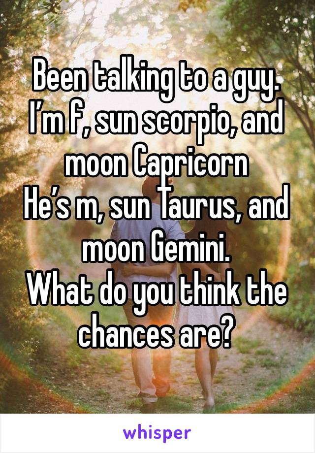 Been talking to a guy. I'm f, sun scorpio, and moon Capricorn  He's m, sun Taurus, and moon Gemini. What do you think the chances are?