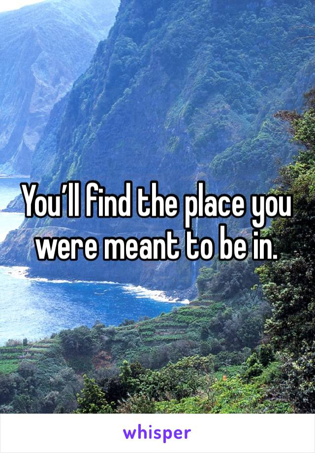 You'll find the place you were meant to be in.