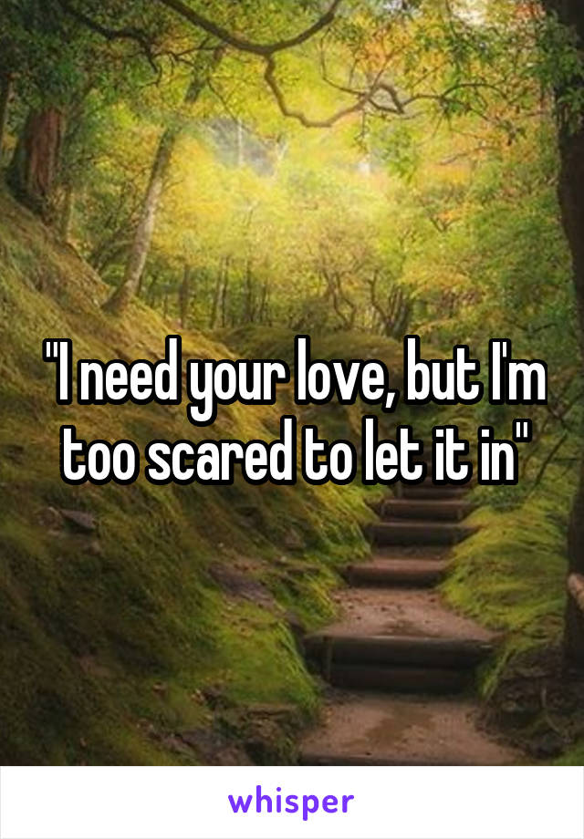 """I need your love, but I'm too scared to let it in"""