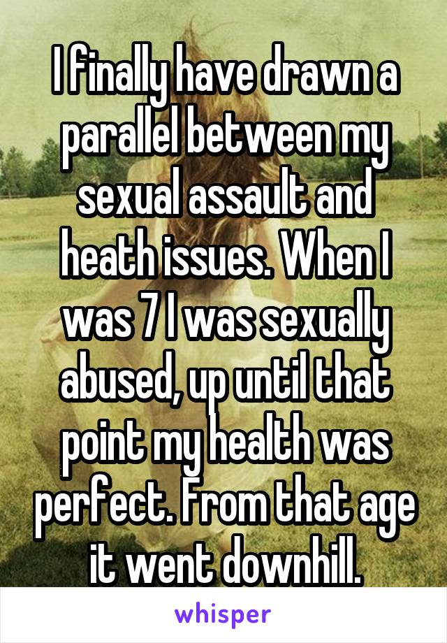 I finally have drawn a parallel between my sexual assault and heath issues. When I was 7 I was sexually abused, up until that point my health was perfect. From that age it went downhill.