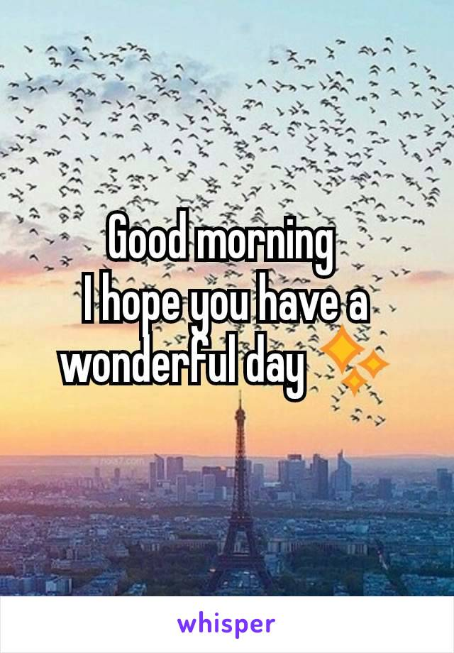 Good morning  I hope you have a wonderful day ✨
