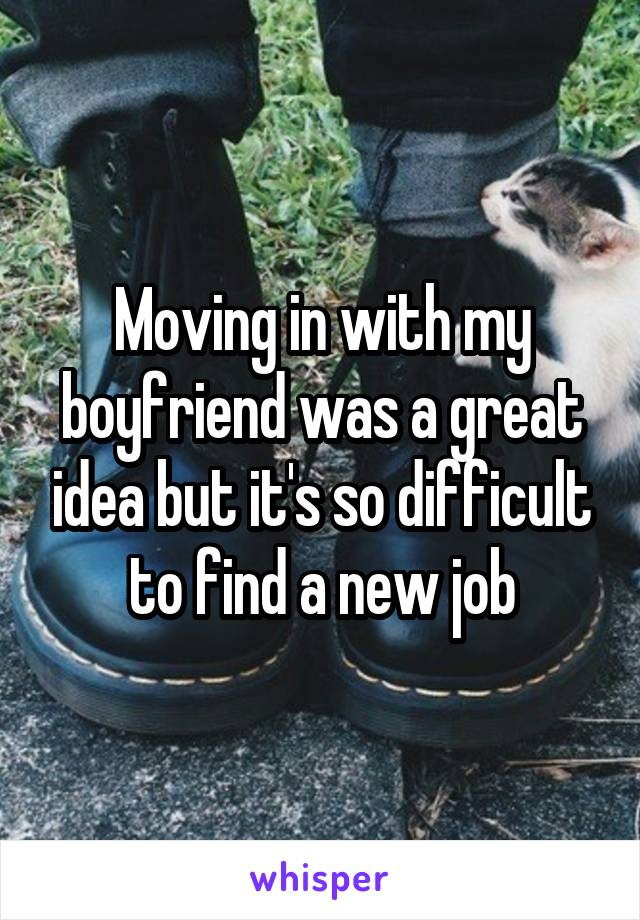 Moving in with my boyfriend was a great idea but it's so difficult to find a new job