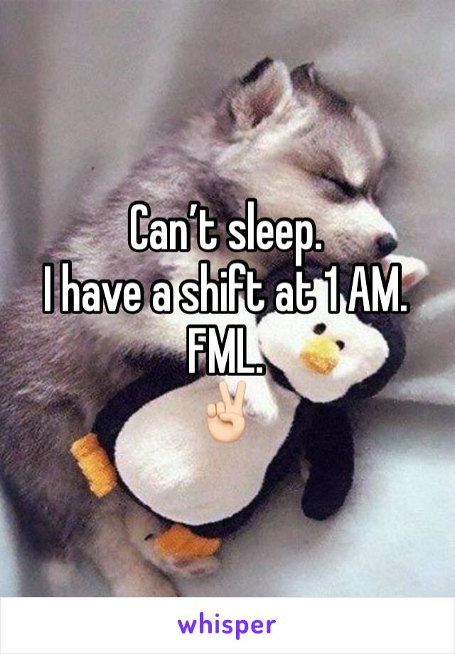 Can't sleep. I have a shift at 1 AM. FML. ✌🏻
