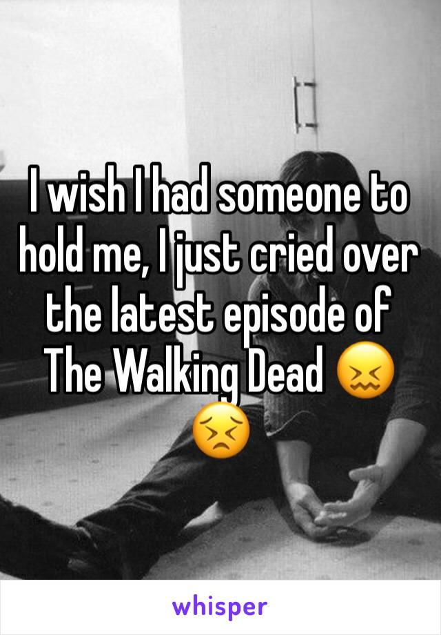 I wish I had someone to hold me, I just cried over the latest episode of The Walking Dead 😖😣