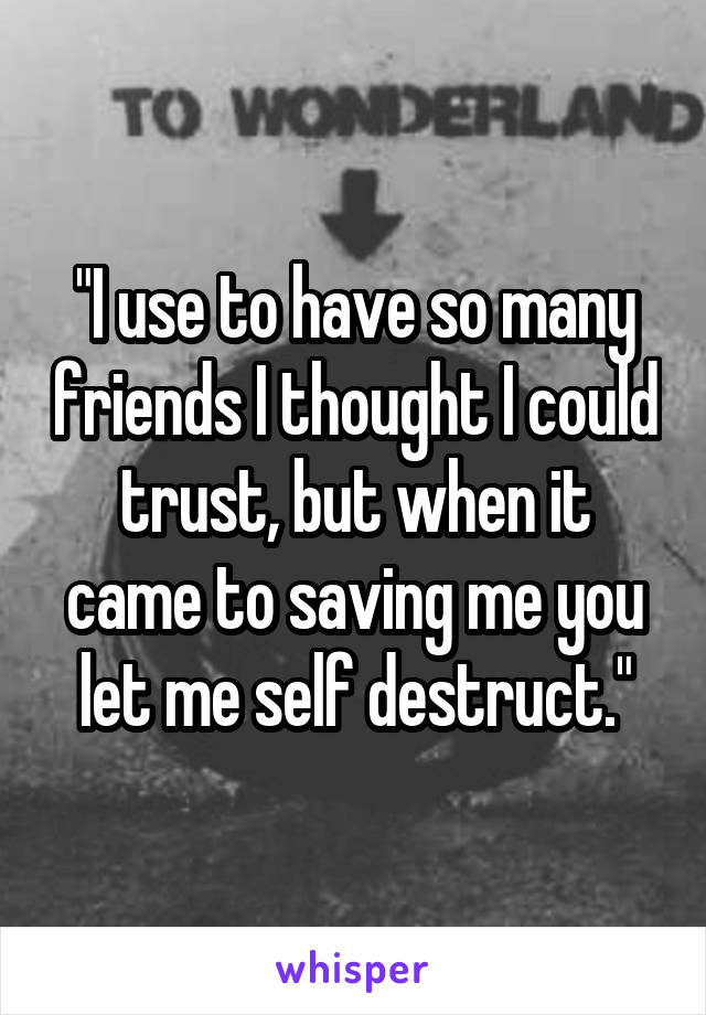 """I use to have so many friends I thought I could trust, but when it came to saving me you let me self destruct."""