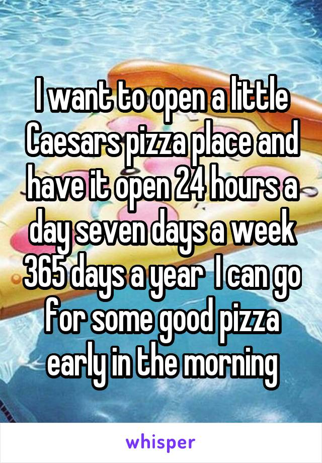 I want to open a little Caesars pizza place and have it open 24 hours a day seven days a week 365 days a year  I can go for some good pizza early in the morning