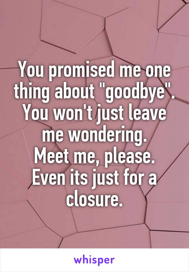 """You promised me one thing about """"goodbye"""". You won't just leave me wondering. Meet me, please. Even its just for a closure."""