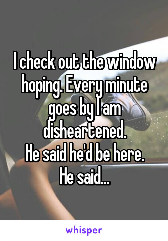 I check out the window hoping. Every minute goes by I am disheartened. He said he'd be here. He said...