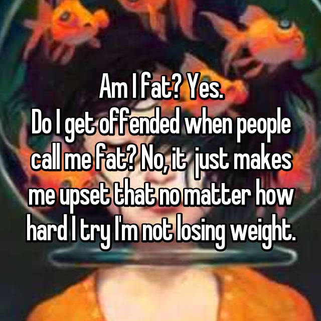 Am I fat? Yes. Do I get offended when people call me fat? No, it  just makes me upset that no matter how hard I try I'm not losing weight.
