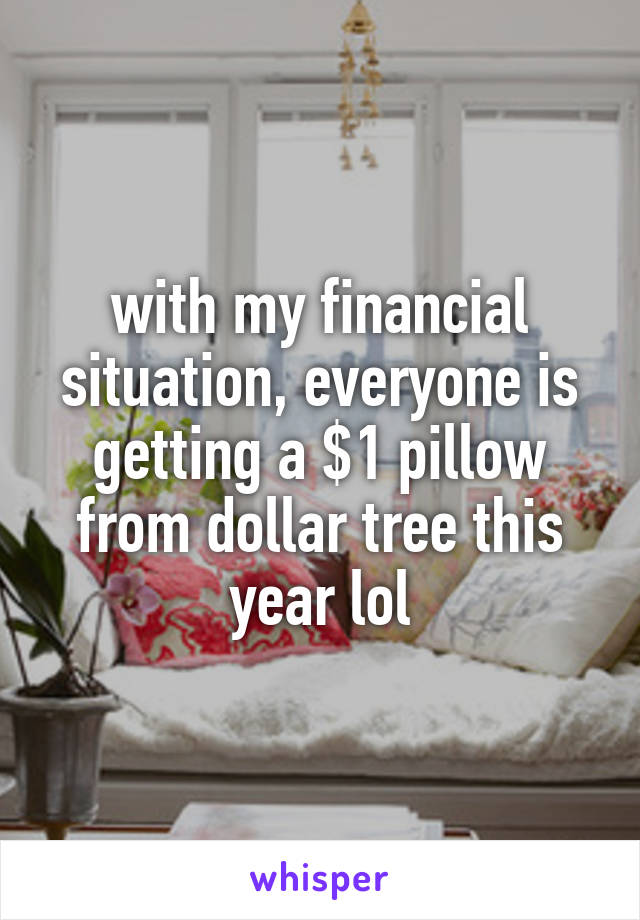 with my financial situation, everyone is getting a $1 pillow from dollar tree this year lol