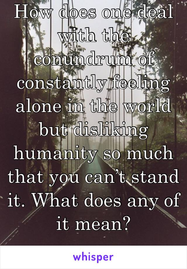 How does one deal with the conundrum of constantly feeling alone in the world but disliking humanity so much that you can't stand it. What does any of it mean?