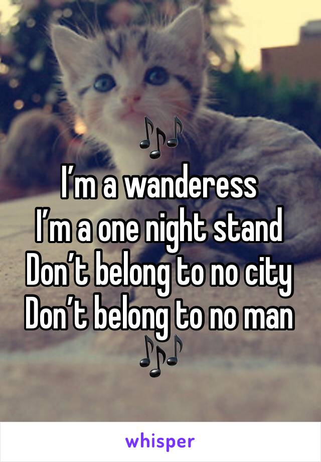 🎶 I'm a wanderess  I'm a one night stand  Don't belong to no city Don't belong to no man 🎶