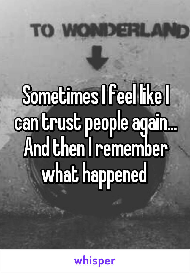 Sometimes I feel like I can trust people again... And then I remember what happened